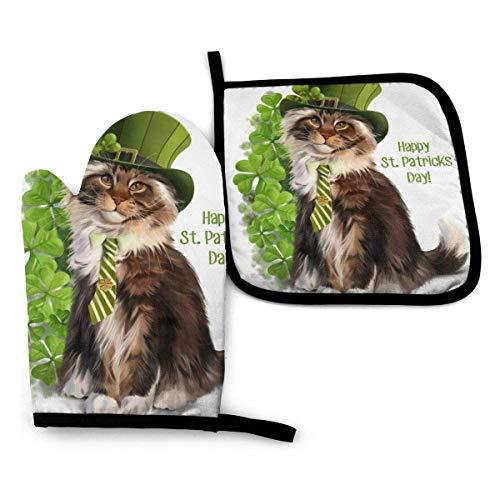 Día de San Patricio Gato Mascota Resistente al Calor Impermeable Antideslizante Guantes de Barbacoa Juego de Almohadillas Calientes para Hornear Cocinar Asar a la Parrilla