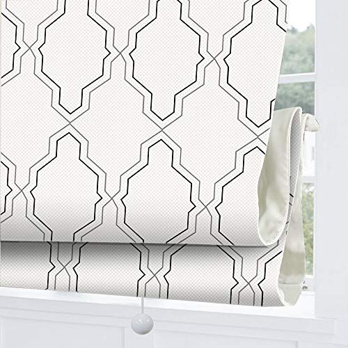 Cordless Roman Shades Window Blinds, White Geometric Premium Blackout Roman Window Shades, Custom Washable Fabric Roman Shades for Windows, Doors, French Doors, Kitchen Windows (1 Piece)