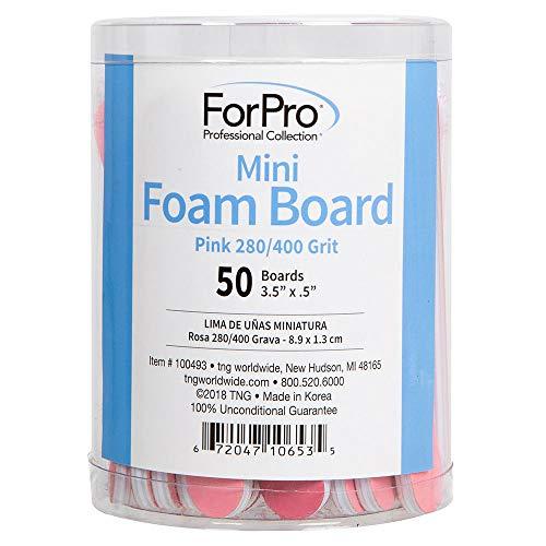 ForPro Pink Mini Foam Board, 280/400 Grit, Double-Sided Manicure Nail File, 3.5 L x .5 W, 50-Count
