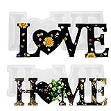 2 Piezas Love Home Molde de Resina , Molde de Silicona para Fundición de Letras...
