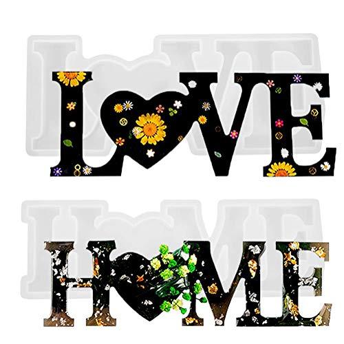 2 Piezas Love Home Molde de Resina , Molde de Silicona para Fundición de Letras Molde de Alfabeto 3D de Epoxi de Cristal para Manualidades DIY Decoración de Mesa