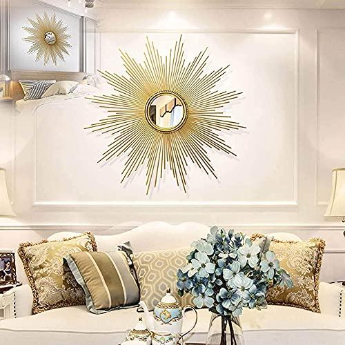 QND Espejo de Pared Redondo, Espejo de Pared con Forma de Resplandor Solar Decorativo de Metal Estéreo 3D, Espejo Colgante en Forma de Estrella, Sala de Estar, Porche de Pasillo,Los 80Cm