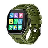 YNLRY Reloj inteligente para hombre con control de música de tacto completo para deportes, seguimiento de fitness, smartwatch presión arterial frecuencia cardíaca (color verde)