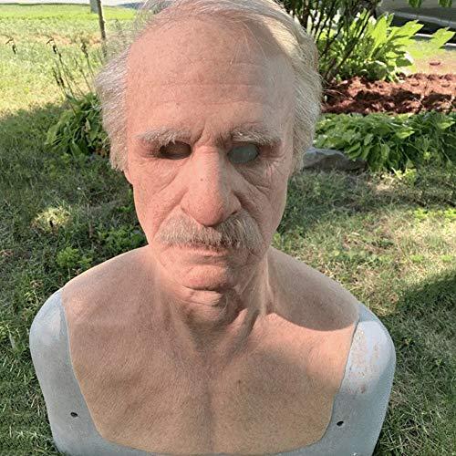 Scucs Halloween Latex Vollmaske, Alter Mann Latex, Realistische Halloween Menschlichen Kopfbedeckung Alter Mann Gesichtsbedeckung, Maskerade Karneval Kostüm Requisiten