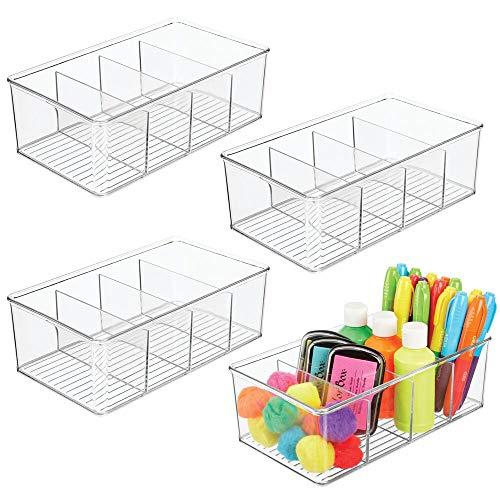 mDesign 4er-Set Organizer – Aufbewahrungsbox mit je 4 Fächern für Malutensilien, Kleber, Garn, Wolle, Scheren, Pinsel etc. – die ideale Nähbox – durchsichtig