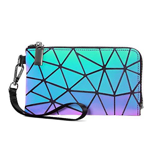 Geometric Luminous Wallet Purses for Women Holographic Wristlets Bag Lattice Reflective Clutch Bag