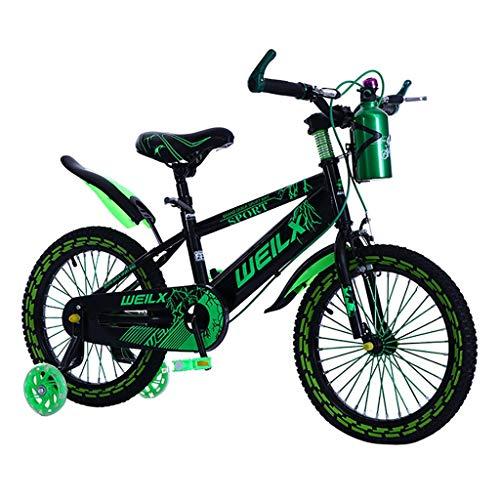 Durable Bicicleta para niños 3-5-7-8 años de Edad Frenos de Mano de niños y niñas, Control de Seguridad en Exteriores (con hervidor) (Color : Green, Size : 14inch)