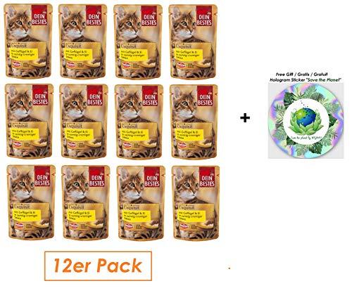 Dein Bestes Nassfutter für Katzen, Exquisit, mit Geflügel & Ei in Sauce, 12er Pack (12 x 85 g)