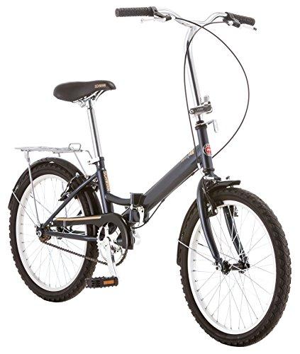Schwinn Hinge Adult Folding Bike, 20-inch Wheels, Single Speed Drivetrain, Rear Carry Rack, Carrying Bag, Grey