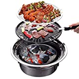 Panghuhu88 BBQ Charcoal Grill Portable Household Korean Grill Non-stick Round Carbon Barbecue Grill Camping Grill Stove for Outdoor,Indoor and Picnic