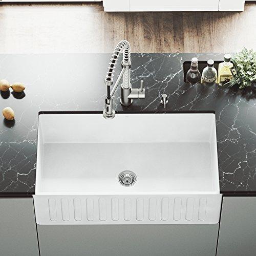 VIGO VGRA3318CS 33' x 18' x 9 5/8 Undermount Farmhouse Kitchen Sink, Apron Front Single Bowl Composite Solid Surface, Matte White Finish