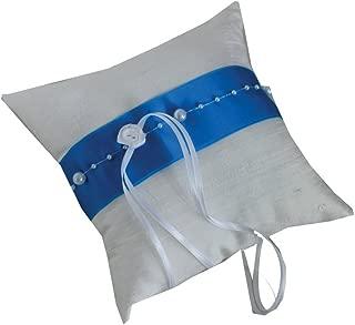 Ringkissen-Shop Ringkissen Perlen Satin in verschiedenen Farben | Handarbeit 17x17cm Kissen: weiss, Band: petrol