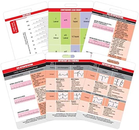 EKG Card Set Vertical 6 Card ECG Telemetry Cards with EKG Ruler Electrocardiogram Rhythm Interpretations product image