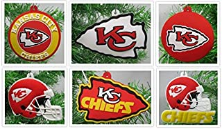 Kansas City Chiefs Set of 6 Holiday Christmas Tree Ornaments Featuring Chiefs Team Ornaments - Unique Shatterproof Design