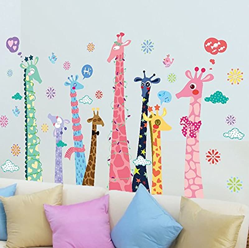 TOTOMO W101 Giraffe Family Animal Wall Decal Sticker For Nursery And Kids Room