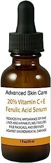 The Best Vitamin C Serum for Your Face-20% Vitamin C, 1% Vitamin E and 1% Ferulic Acid in Hyaluronic Acid Serum, Brighten ...