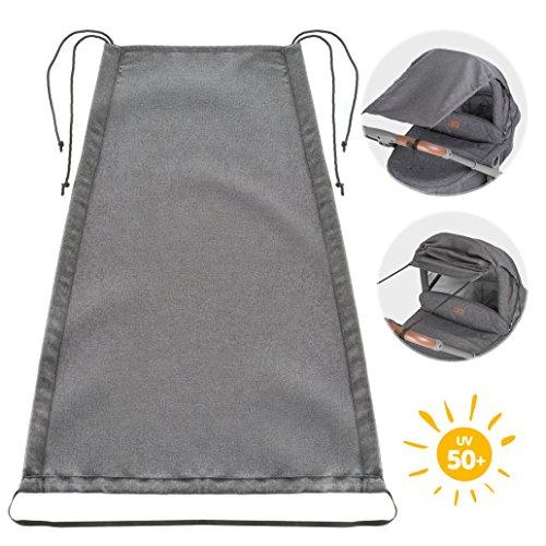 Zamboo Zonnescherm Universeel DELUXE voor Kinderwagens en Buggy's | Zonnezeil voor Wandelwagens met Reiswieg | Flexibele UV 50+ Zonwering met Schuiffunctie voor Baby's - Melange Grijs