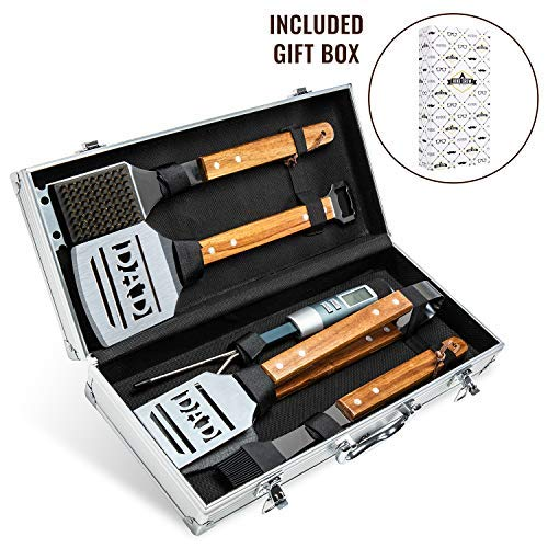 Hike Crew Deluxe Dad BBQ Tools Gift Set – 6-Piece Grill Accessories Utensils Kit Perfect for Holiday, Birthday or Father's Day – Tongs, Spatula, Digital Thermometer, Sauce Brush, Scraper, Carry Case