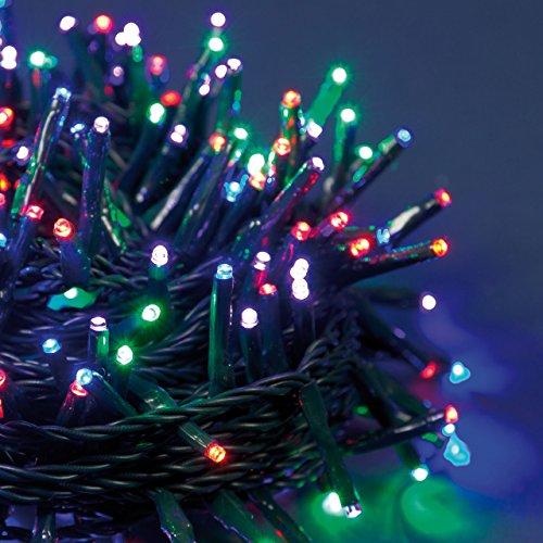 XMASKING Catena 25,5 m, 360 miniled LED Ø 3 mm Multicolor Plus (Colori Rosso, Porpora, Verde, Blu), Cavo Verde, con Controller 8 Giochi Catena Natalizia, luci Colorate, Decorazione Luminosa