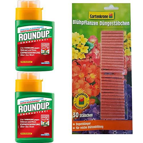 hagebauSPN 500ml Roundup AC Konzentrat + 30er Gartenkrone Düngestäbchen