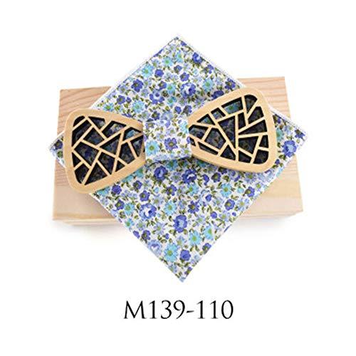 YYB-Tie Mode binden Hochzeit ausgehöhlt unregelmäßige Fenster Blume schnitzen Hochzeit Polyester Seidenschal Geschenkbox mit Holzkiste Set (Farbe : 10, Größe : Free Size)