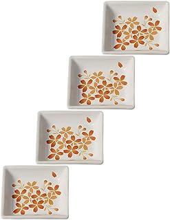 Cinf Japanese Cherry Blossom 4 inch Salad Dish Plates Set of 4 White Ceramic Sauce Dish/Seasoning Dish/Sushi Dishes/Appeti...