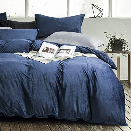 NTBAY Velvet Flannel Duvet Cover Set, 3 Pieces Zippered Comforter Cover Set, Double, Navy