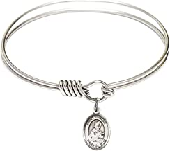 6 1/4 inch Round Eye Hook Bangle Bracelet with a St. Isidore of Seville charm./Saint Isidore of Seville is the patron saint of Computers/Internet. Memorial Day April 4th./Computers/Internet