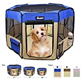 JESPET 61' Pet Dog Playpens, Portable Soft Dog Exercise Pen Kennel with Carry Bag for Puppy Cats Kittens Rabbits,Blue