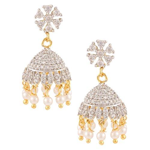 Gold Tone Indian Bollywood Ethnic Designer White Jhumka Jhumki Earrings Jewellery for Girls/Women