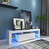 Fitnessclub Contemporary TV Cabinet is for TVs up to 65',High Gloss LED Entertainment Center w/Storage & 2 Drawers for Living Room Bedroom Furniture White
