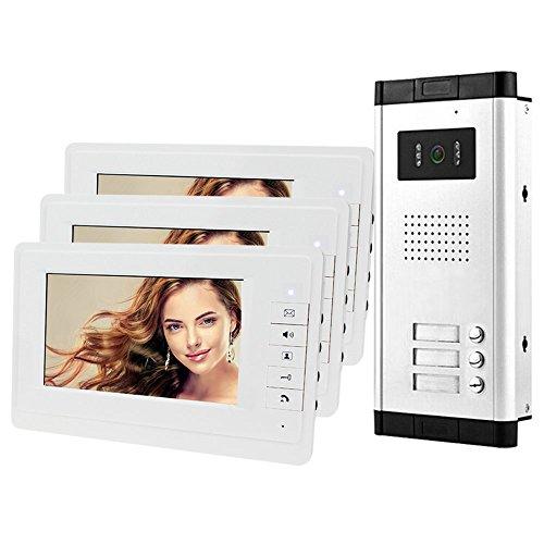 HFeng 7 '' Intercom videoportero Sistema de sistema 700TVL Visión nocturna Cámara exterior Timbre para 3 apartamentos, 1 cámara + 3 monitores