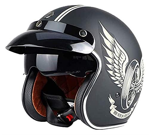 KKAAMYND Casco de Cara Abierta Casco de Motocicleta Casco de Moto Retro con Visera Sol Motocicleta de la Vendimia Medio Casco de Bicicleta eléctrica, Aprobado por Dot/ECE para Hombres