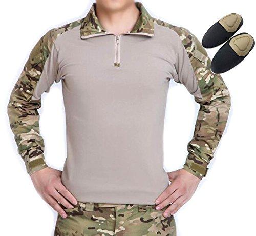 H Welt Shopping Tactical Jagd Militär Lange Ärmel Shirt mit Ellenbogenschoner Camo MultiCam MC, multicam