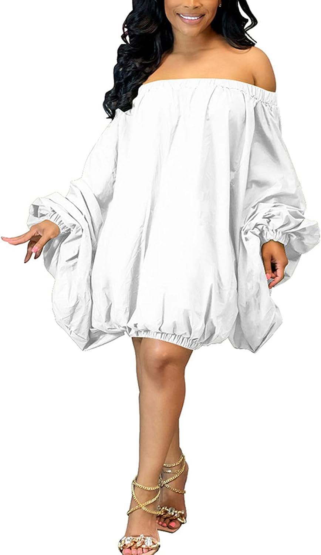 GEMEIQ Women's Sexy Off Shoulder Puff Long Sleeve Loose Summer T Shirt Blouse Mini Dress