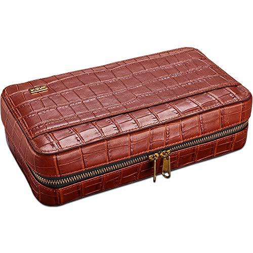 BJL-Cigar Zigarrenbox – Cigar Humidor 4 Zigarettensticks aus Rindsleder, geprägt, mit Krokodil beschichtet, aus hochwertigem Rindsleder rot
