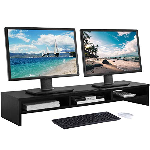 MaxGear Large Dual Monitor Stand, 2 Tiers Solid Wood Riser with Cellphone Holder, Support Heaviest Monitors, Printers, Laptops, TV, Shelf Organizer for Office Desk, Desktop Storage Organization, Black