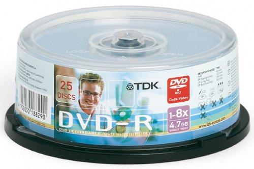 TDK DVD-R Rohlinge 4.7GB 8X 25er Spindel