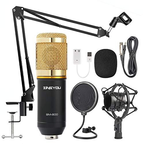ZINGYOU Kondensator Mikrofon Set, BM-800 Studio Tisch Professionell Mikrofon mit Arm Ständer&Halter, Streaming Mic Kit für Podcast,Aufnahme,PC,Gaming(3.5mm, Goldfarben)