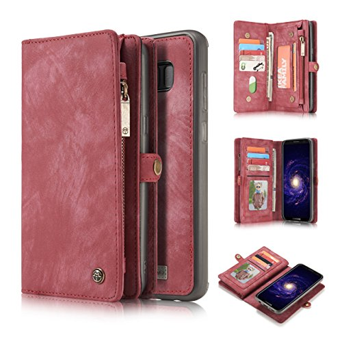 AKHVR S10 5G Wallet Case,Handmade Premium Cowhide Leather Wallet Case,Zipper Wallet Case [Magnetic Closure] Detachable Magnetic Case & Card Slots for Samsung Galaxy S10 5G 6.7 inch Red