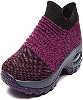 ailishabroy Men's/Women's flying woven shoes and socks shoes couple air cushion shake bottom casual comfortable walking shoes
