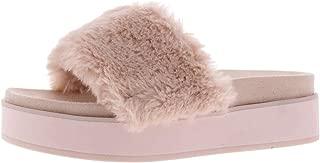 Womens Dreamy Faux Fur Open Toe Platform Sandals