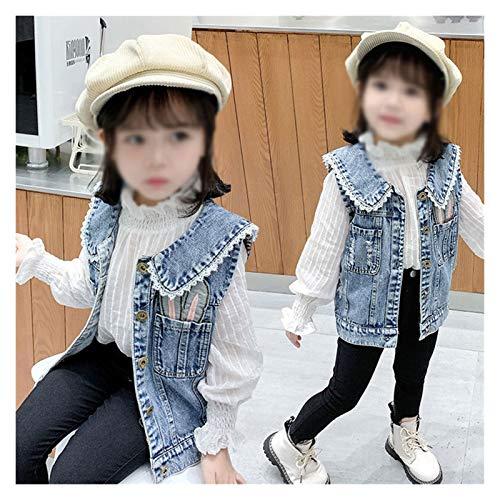 TMY Chaleco de Mezclilla para niñas, Chaleco de Moda para niños de Moda para niños y Chaleco de otoño (Color : Blue, tamaño : 90 Yards)