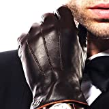 Elma Men's Touchscreen Texting Winter Italian Nappa Leather Gloves Fleece Lining (9, Brown)