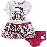 Hello Kitty bebé niñas verano vestido Tanga Rosa/Blanco weiß pink Talla:62-68