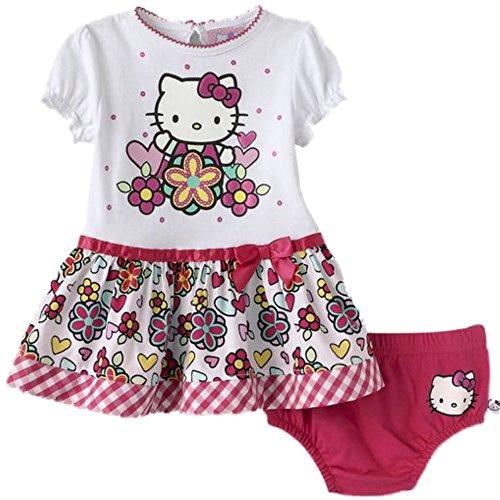 Hello Kitty Robe d'été pour bébé fille + sous-vêtement Rose/blanc (62-68)