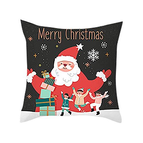 Zimmuy Navidad Decoración Funda Cojine Dibujo Papá Noel Navidad Funda de Almohada Santa Claus Dibujo Adorable Casa Sofá Decoración Papá Noel(F)