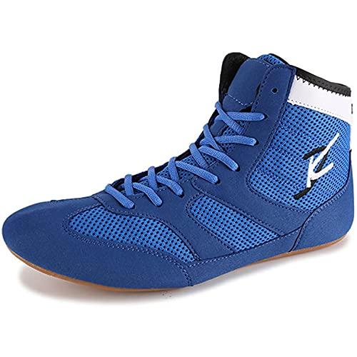 WJFGGXHK Taekwondo - Zapatos de boxeo unisex para fitness, antideslizantes, transpirables, zapatos de lucha libre, zapatos de boxeo para hombres, mujeres, niños y niñas, azul, 45