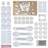 Baby Proofing Kit,10 Magnetic cabinets Locks 2 Magnets Keys 12 Corner Proctetors 10 Outlet Plug Covers 4 Safety Locks Drawer Latches (2 Crayons as Gift) (Upgraded) Child Proof