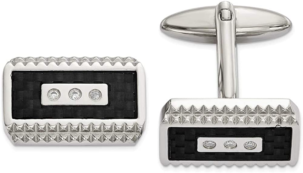 FB Jewels Solid Stainless Steel Polished Black Carbon Fiber Inlay Cubic Zirconia CZ Cuff Links